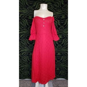 Red off the shoulder sleeve dress